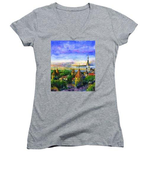 Tallinn Estonia Women's V-Neck T-Shirt