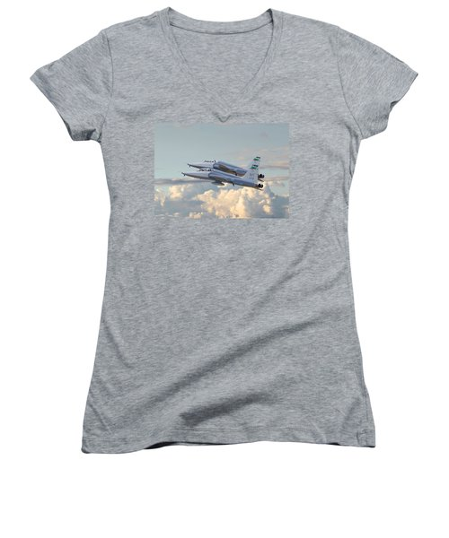 Women's V-Neck T-Shirt (Junior Cut) featuring the photograph Talon T38 - Supersonic Trainer by Pat Speirs