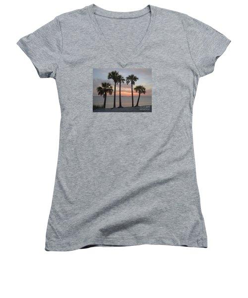 Tampa Bay Sunset Women's V-Neck T-Shirt (Junior Cut) by Gail Kent