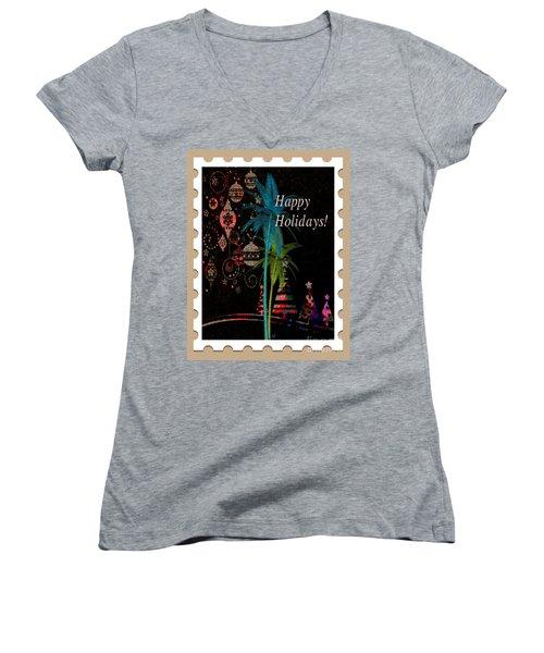 Women's V-Neck T-Shirt (Junior Cut) featuring the digital art Tan Stamp by Megan Dirsa-DuBois