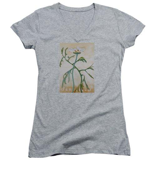 Tanacetum Women's V-Neck T-Shirt (Junior Cut) by Ruth Kamenev
