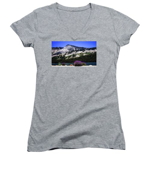 Tanaya Lake Wildflowers Yosemite Women's V-Neck (Athletic Fit)