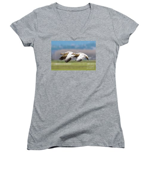 Women's V-Neck T-Shirt (Junior Cut) featuring the photograph Tandem Glide by Mike Dawson