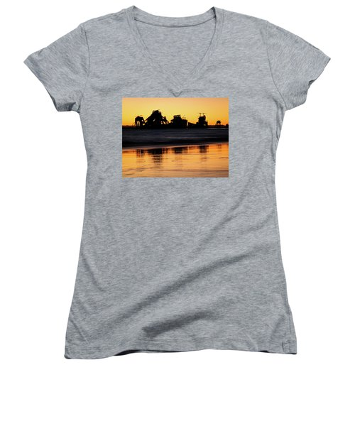 Tangalooma Wrecks Sunset Silhouette Women's V-Neck (Athletic Fit)