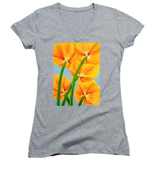 Tangerine Women's V-Neck T-Shirt