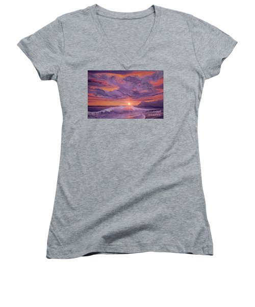 Tangerine Sky Women's V-Neck T-Shirt (Junior Cut) by Holly Martinson