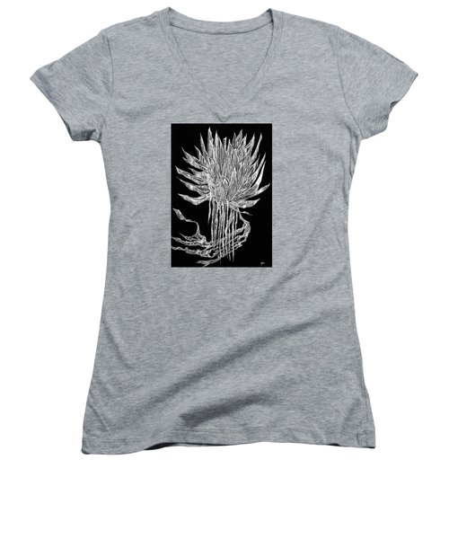 Tangled Thimbleweed Women's V-Neck T-Shirt (Junior Cut) by Charles Cater