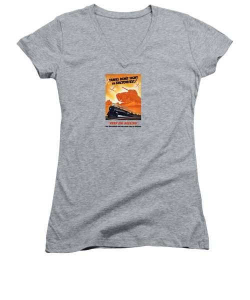 Women's V-Neck T-Shirt (Junior Cut) featuring the painting Tanks Don't Fight In Factories by War Is Hell Store