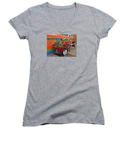 Women's V-Neck T-Shirt (Junior Cut) featuring the photograph Tannersville Color Blast by Nancy De Flon