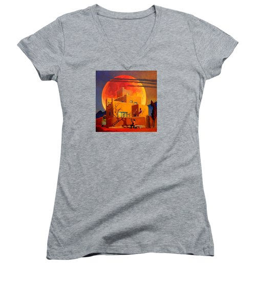 Taos Wolf Moon Women's V-Neck T-Shirt