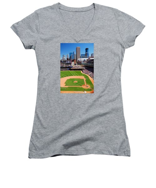 Target Field, Home Of The Twins Women's V-Neck T-Shirt (Junior Cut) by James Kirkikis