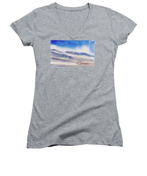 Women's V-Neck featuring the painting Tasmanian Skies Never Cease To Amaze And Delight. by Dorothy Darden