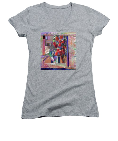 Taste Of Italy  Women's V-Neck T-Shirt (Junior Cut) by Julianne Ososke