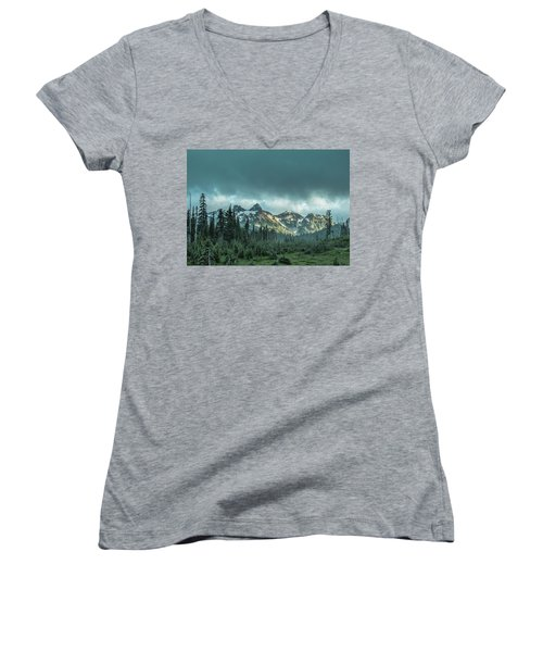 Tatoosh With Storm Clouds Women's V-Neck