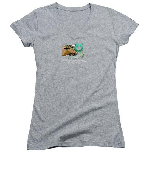 Taurus Sun Sign Women's V-Neck T-Shirt (Junior Cut) by Shelley Overton