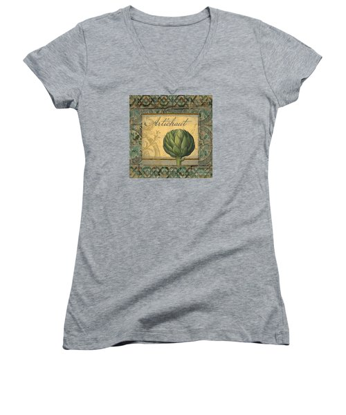 Tavolo, Italian Table, Artichoke Women's V-Neck T-Shirt