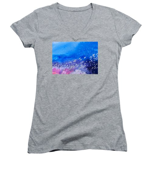 Women's V-Neck T-Shirt (Junior Cut) featuring the painting Tavu Na  Siki by Ed Heaton
