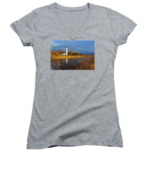 Sturgeon Point Lighthouse Women's V-Neck T-Shirt