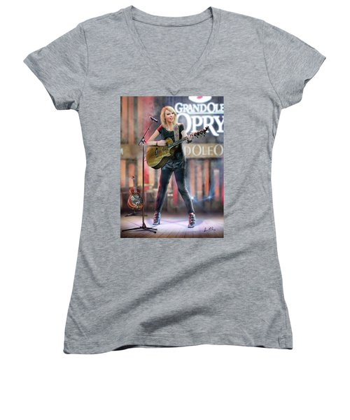 Taylor At The Opry Women's V-Neck T-Shirt (Junior Cut) by Don Olea