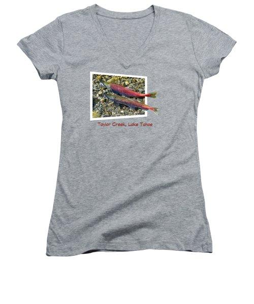 Taylor Creek, Lake Tahoe Women's V-Neck T-Shirt (Junior Cut) by David Lawson