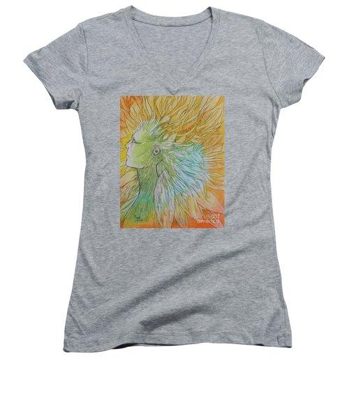 Women's V-Neck T-Shirt (Junior Cut) featuring the drawing Te-fiti by Marat Essex