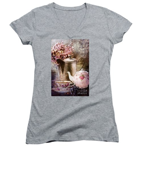 Tea And Grapes Women's V-Neck T-Shirt (Junior Cut) by Mo T