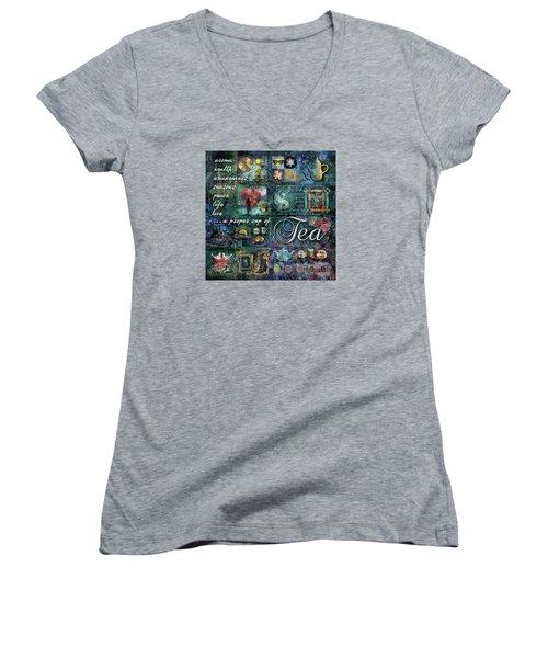 Women's V-Neck T-Shirt (Junior Cut) featuring the digital art Tea by Evie Cook