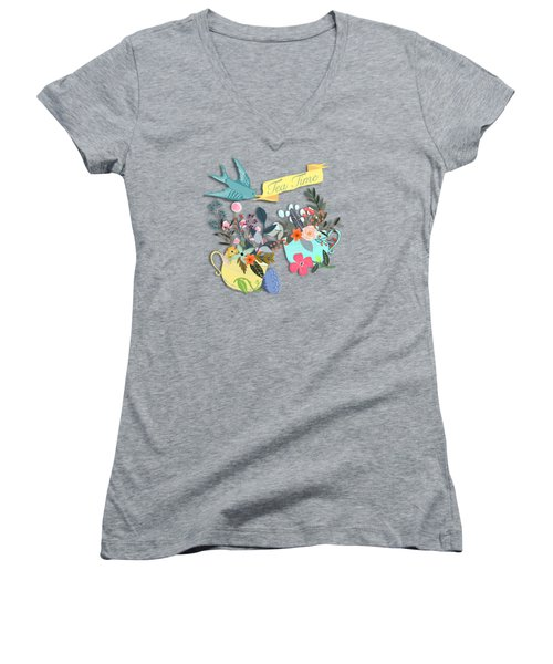Tea For Two Women's V-Neck T-Shirt (Junior Cut) by Little Bunny Sunshine