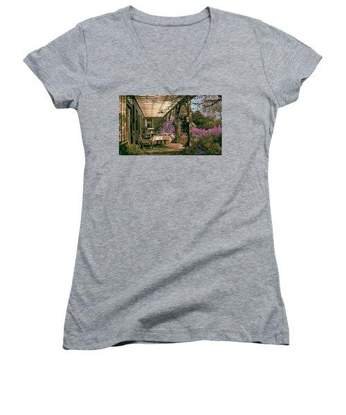 Women's V-Neck T-Shirt (Junior Cut) featuring the digital art Tea Garden by John Selmer Sr