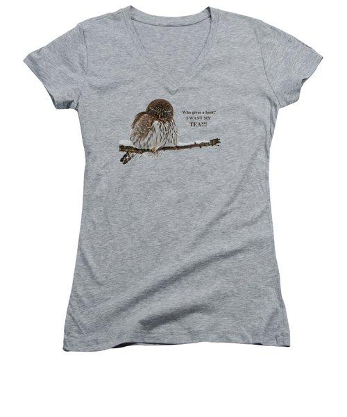 Tea Owl Women's V-Neck (Athletic Fit)