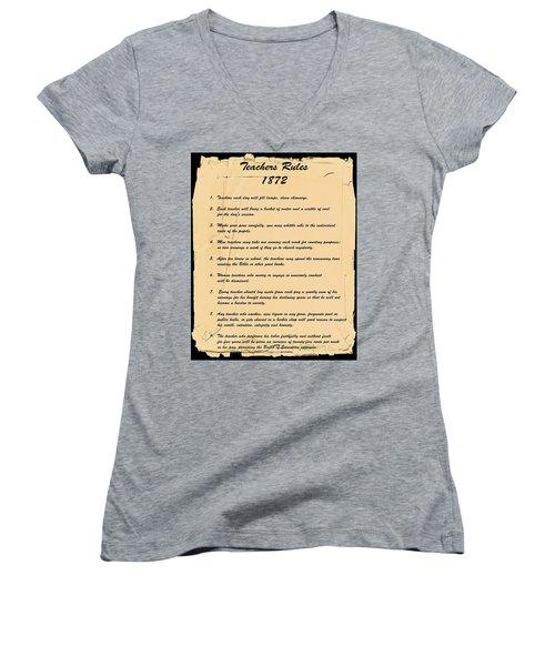 Teachers Rules 1872 Women's V-Neck T-Shirt