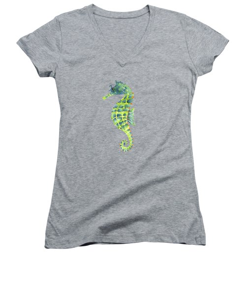 Teal Green Seahorse - Square Women's V-Neck
