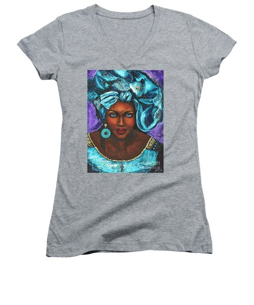 Women's V-Neck T-Shirt (Junior Cut) featuring the painting Teal Headwrap by Alga Washington