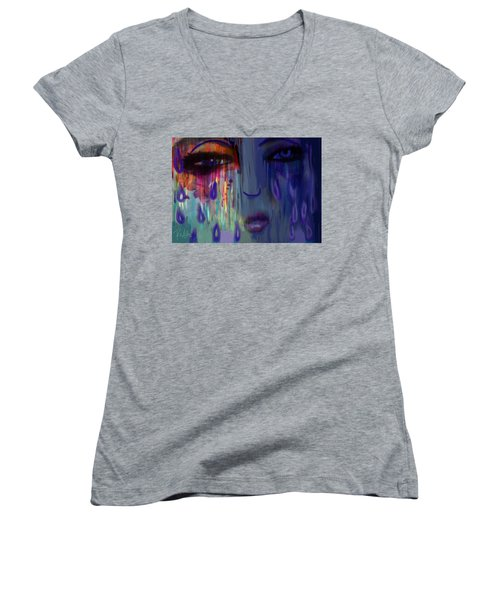 Women's V-Neck T-Shirt (Junior Cut) featuring the digital art Tearful  Dream by Diana Riukas