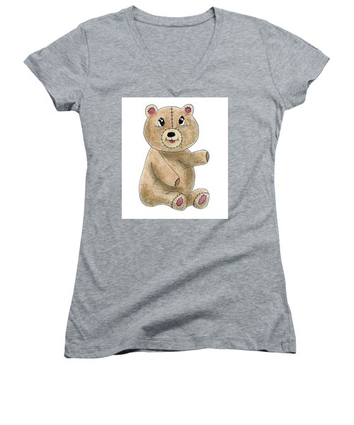 Teddy Bear Watercolor Painting Women's V-Neck