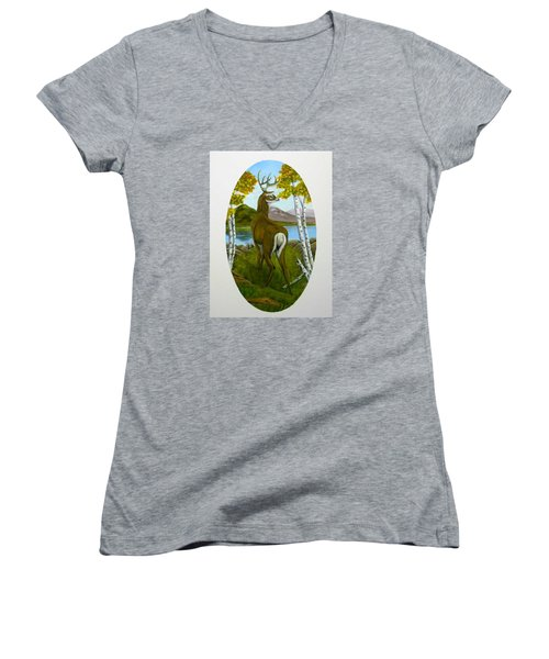 Women's V-Neck T-Shirt (Junior Cut) featuring the painting Teddy's Deer by Sheri Keith