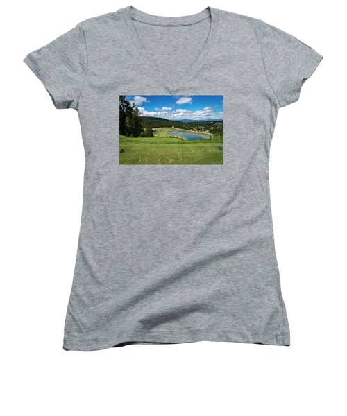 Women's V-Neck T-Shirt (Junior Cut) featuring the photograph Tee Box With As View by Darcy Michaelchuk