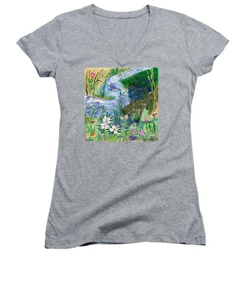 Teen Drawing -- Hummingbird Collecting Silk Women's V-Neck T-Shirt (Junior Cut) by Dawn Senior-Trask