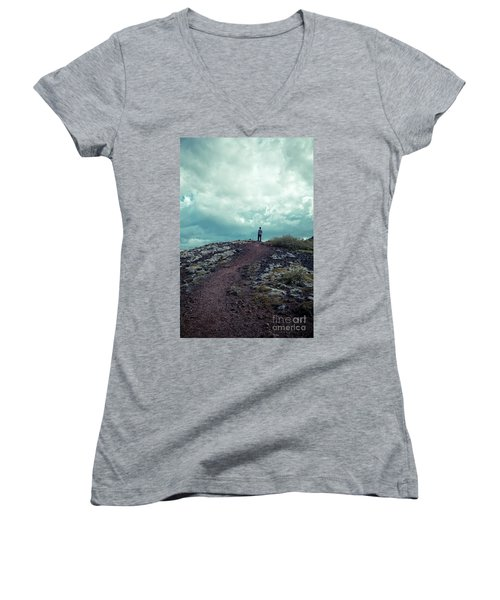 Women's V-Neck T-Shirt featuring the photograph Teenager On A Hiking Trail In Iceland by Edward Fielding