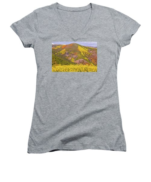 Women's V-Neck T-Shirt (Junior Cut) featuring the photograph Temblor Range Color by Marc Crumpler