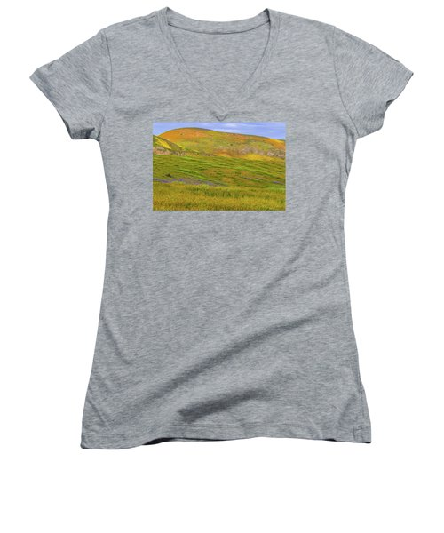 Women's V-Neck T-Shirt (Junior Cut) featuring the photograph Temblor Range Spring Color by Marc Crumpler