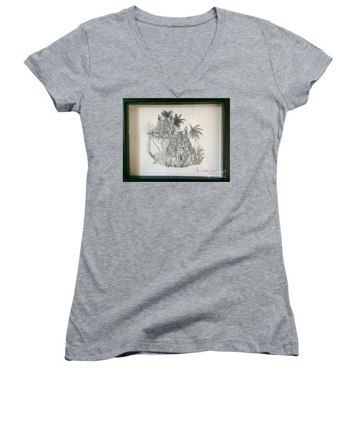 Women's V-Neck T-Shirt (Junior Cut) featuring the painting Temple In Calligraphy Ink by Brindha Naveen