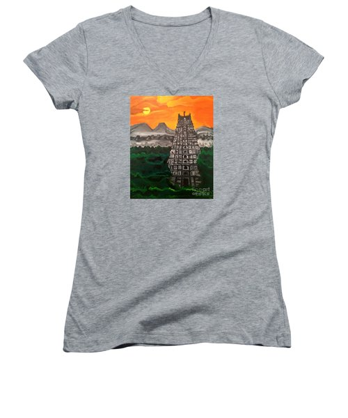 Women's V-Neck T-Shirt (Junior Cut) featuring the painting Temple Near The Hills by Brindha Naveen