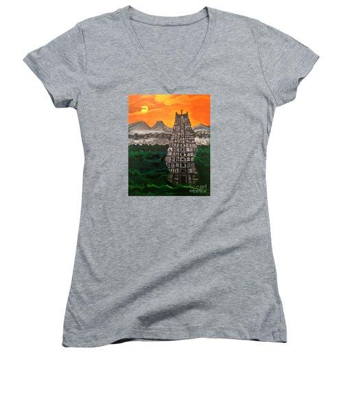 Temple Near The Hills Women's V-Neck T-Shirt (Junior Cut) by Brindha Naveen