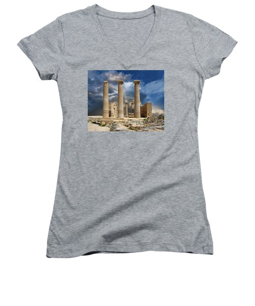 Temple Of Athena Women's V-Neck (Athletic Fit)