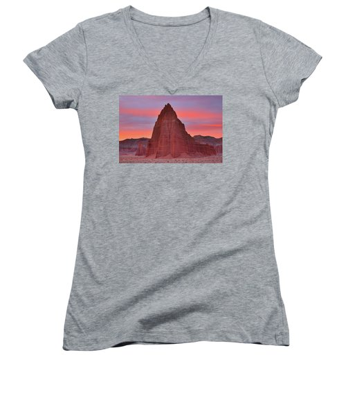 Temple Of The Sun And Moon At Sunrise At Capitol Reef National Park Women's V-Neck (Athletic Fit)