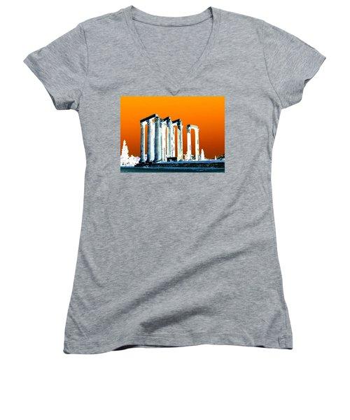 Temple Of Zeus, Athens Women's V-Neck T-Shirt (Junior Cut) by Karen J Shine