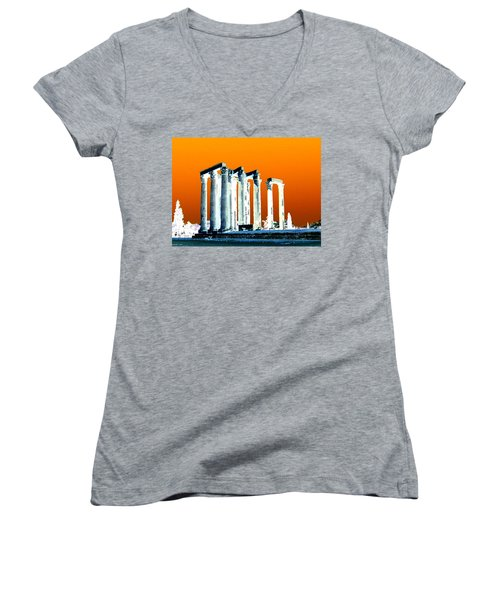 Temple Of Zeus, Athens Women's V-Neck T-Shirt