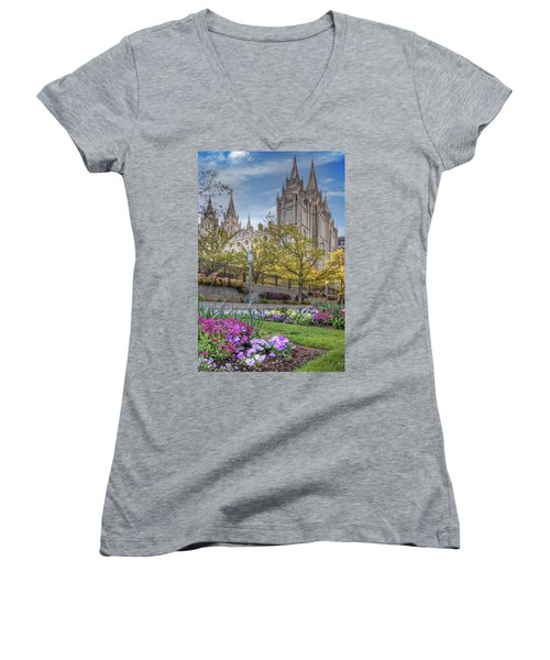 Temple Square Salt Lalke City Utah Women's V-Neck (Athletic Fit)