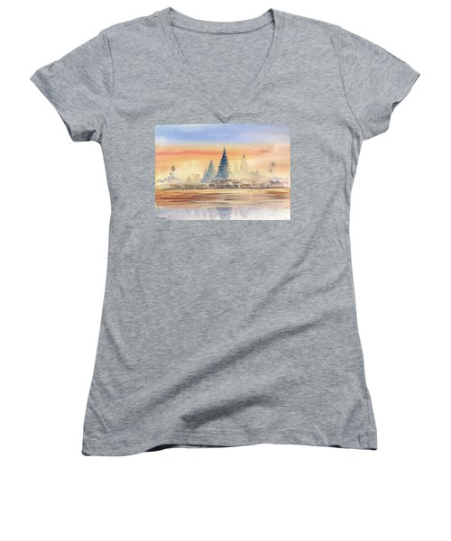 Temples In The Dusk Women's V-Neck